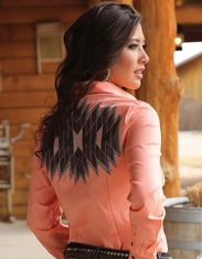 Cruel Women's Long Sleeve Arena Fit Embroidered Solid Snap Shirt - Coral