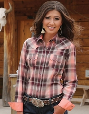 Cruel Women's Long Sleeve Arena Fit Plaid Snap Shirt - Coral