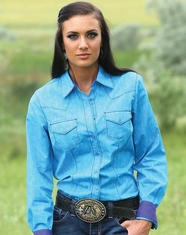 Cruel Women's Long Sleeve Arena Fit Print Button Down Shirt - Blue