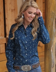 Cruel Women's Long Sleeve Arena Fit Print Snap Shirt - Navy