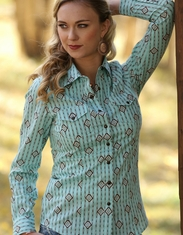 Cruel Women's Long Sleeve Arena Fit Print Snap Shirt - Turquoise
