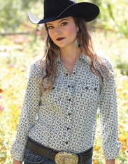 Cruel Women's Long Sleeve Arena Fit Print Snap Shirt - White (Closeout)