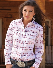 Cruel Women's Long Sleeve Arena Fit Print Snap Shirt - White