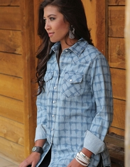 Cruel Women's Long Sleeve Boyfriend Fit Print Chambray Snap Shirt - Blue