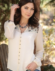Cruel Women's Long Sleeve Embroidered Button Down Top - Cream