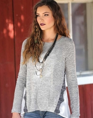 Cruel Women's Long Sleeve Heathered Chiffon Back Top - Grey (Closeout)