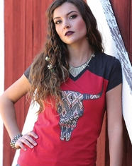 Cruel Women's Short Sleeve Skull Print Tee Shirt - Red