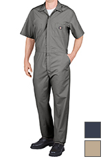 Dickies Men's Short Sleeve Coveralls - Gray, Navy, or Khaki