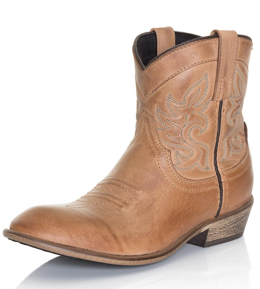 Womens Willie Ankle Cowboy Boots - Antique Tan