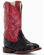 Ferrini Children's Crocodile Curve Print Square Toe Cowboy Boots - Black/ Red (Closeout)