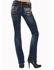 Grace In L.A.Women's Junior Fit Grace Low Rise Boot Cut Jeans - Dark Wash