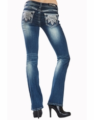 Grace In L.A.Women's Junior Fit Grace Low Rise Boot Cut Jeans - Meduim Wash