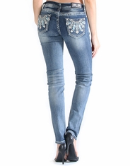Grace In L.A.Women's Junior Fit Low Rise Skinny Jeans - Medium Wash