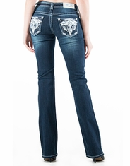 Grace In L.A.Women's Mid Rise Easy Boot Cut Jeans - Dark Wash