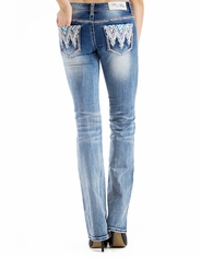 Grace In L.A.Women's Mid Rise Easy Boot Cut Jeans - Light Wash