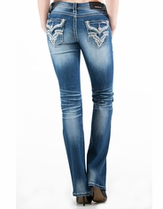 Grace In L.A.Women's Mid Rise Easy Boot Cut Jeans - Medium Wash