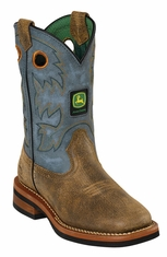 John Deere Johnny Popper Childrens Square Toe Cowboy Boots - Sanded Blue