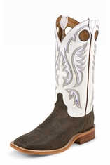 Justin Bent Rail Men's Chocolate Bisonte Cowboy Boots - White
