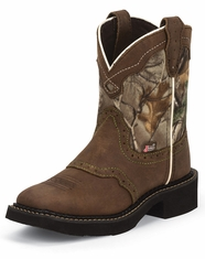 Justin Gypsy Girl's Square Toe Boots - Camo/Brown (Closeout)