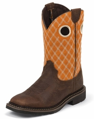 Justin Children's Square Toe Western Boots - Orange/Barnwood (Closeout)