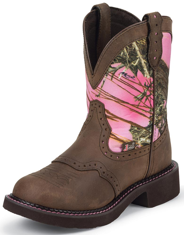 Gypsy Womens Pink Camo Cowboy Boots - Pink/Brown