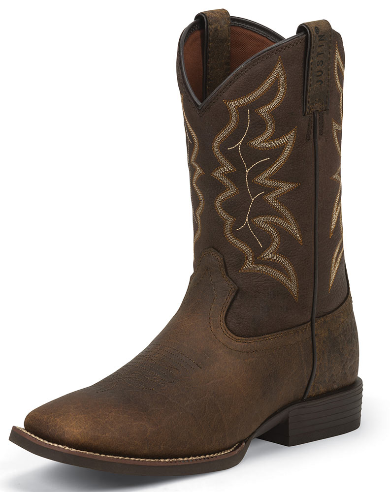 Justin Men S Stampede 11 Quot Square Toe Boots Brown