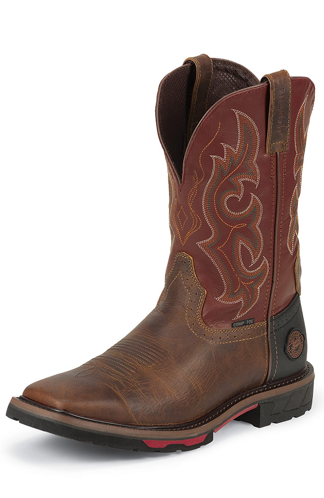 Justin Mens Stampede Composite Toe 11 Quot Pull On Work Boots