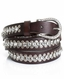 Kamberley Womens Skinny Rhinestud Belt - Brown