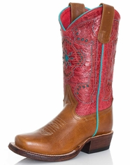 Kids Macie Bean Square Toe Boots - Whiskey Bent/Red Sinsation (Closeout)