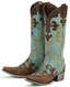 Lane Boots Women's 'Dawson' Cowboy Boots - Turquoise/ Brown (Closeout)
