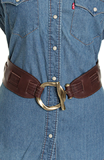 Leatherock Womens Pull Through Waist Belt - Brown (Closeout)