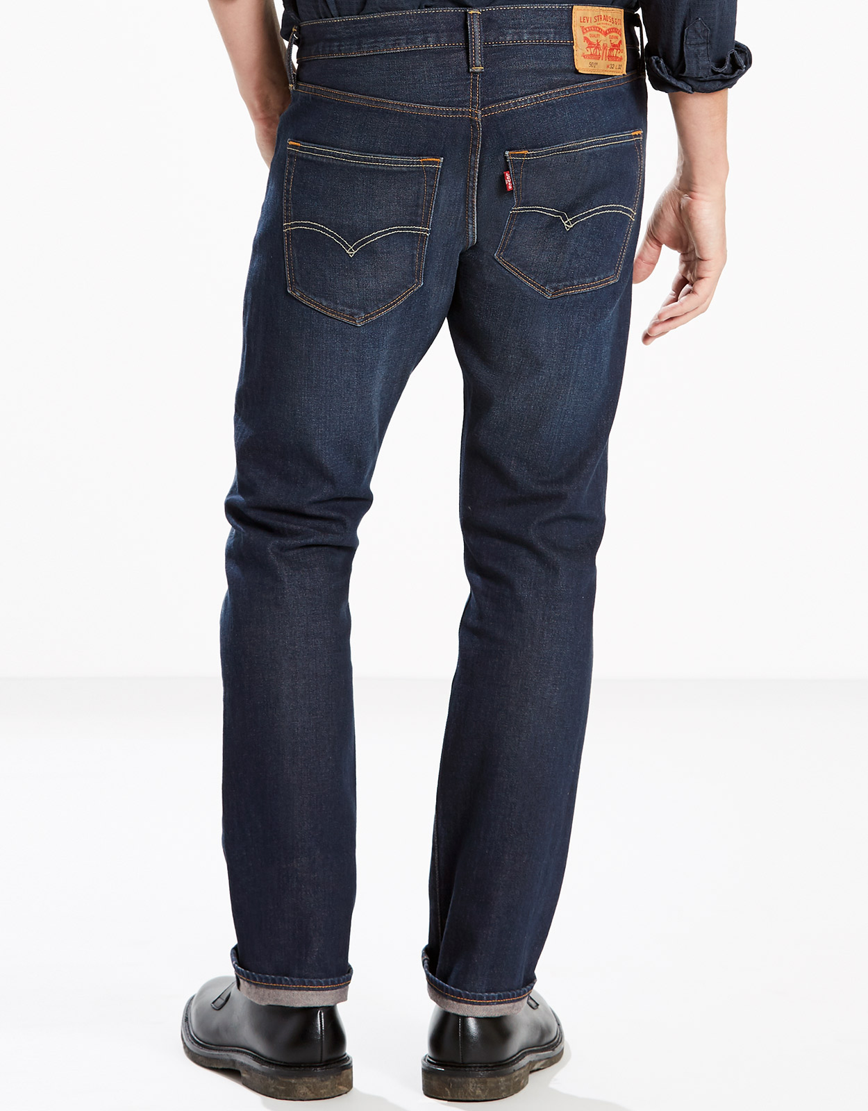 Levi's Men's 501 Original Stretch Mid Rise Regular Fit Straight Leg Jeans - Anchor (Closeout)