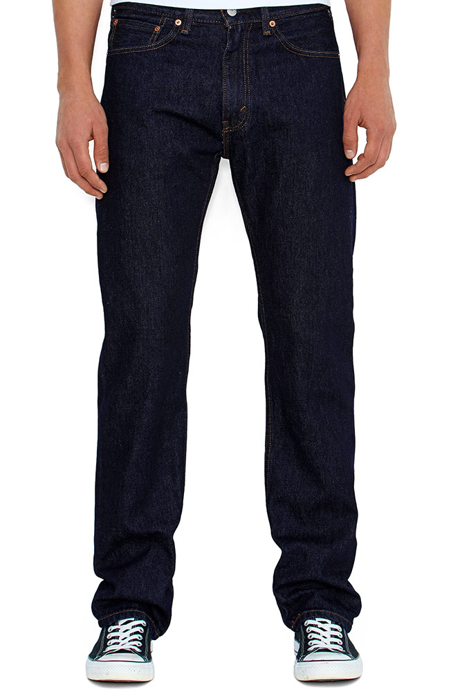 Levi's Men's 505 Regular Mid Rise Regular Fit Straight Leg Jeans - Rinse