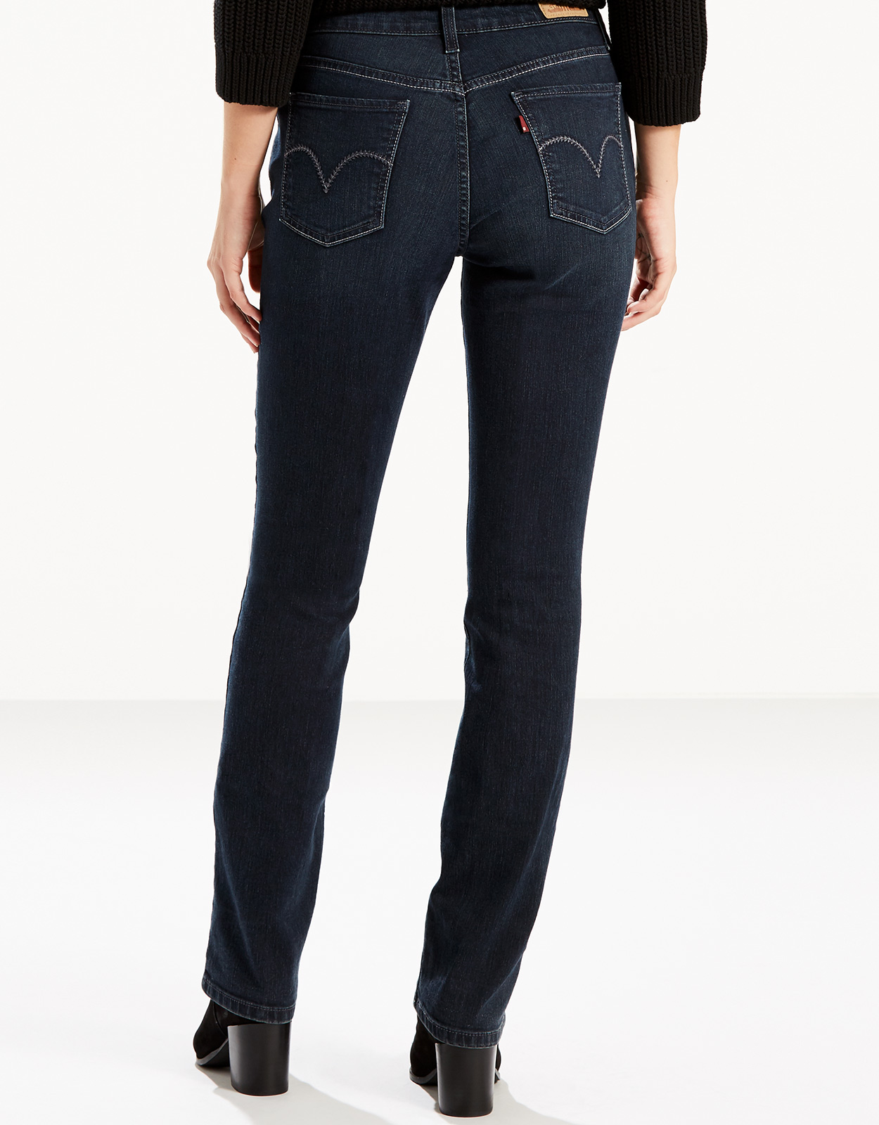 Levi's Women's 505 Straight Stretch Mid Rise Easy Fit Straight Leg Jeans - Immersion