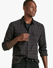 Lucky Brand Men's Long Sleeve Aztec Print Snap Shirt - Black (Closeout)