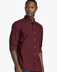 Lucky Brand Men's Long Sleeve Black Label Plaid Button Down Shirt - Red