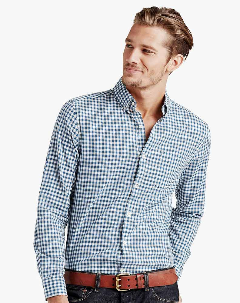 Lucky Brand Men's Long Sleeve Check Button Down Shirt-Blue