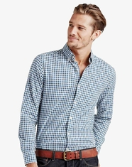 Lucky Brand Men's Long Sleeve Check Button Down Shirt-Blue (Closeout)