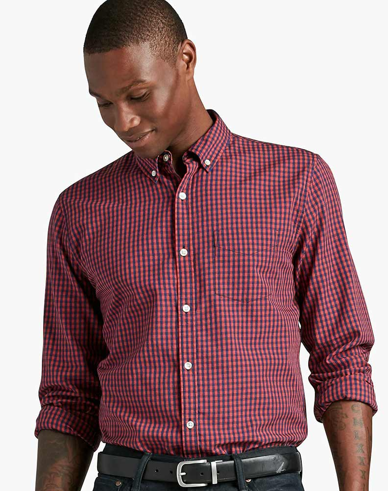 Lucky Brand Men's Long Sleeve Check Button Down Shirt - Blue