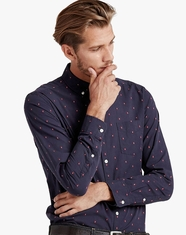 Lucky Brand Men's Long Sleeve Embroidered Button Down Shirt-Navy (Closeout)