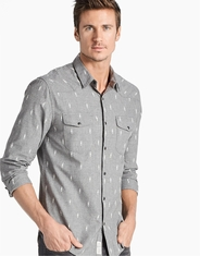 Lucky Brand Men's Long Sleeve Embroidered Snap Shirt- Grey