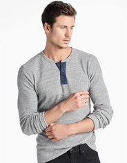 Lucky Brand Men's Long Sleeve Heathered Thermal Button Henley Shirt-Grey