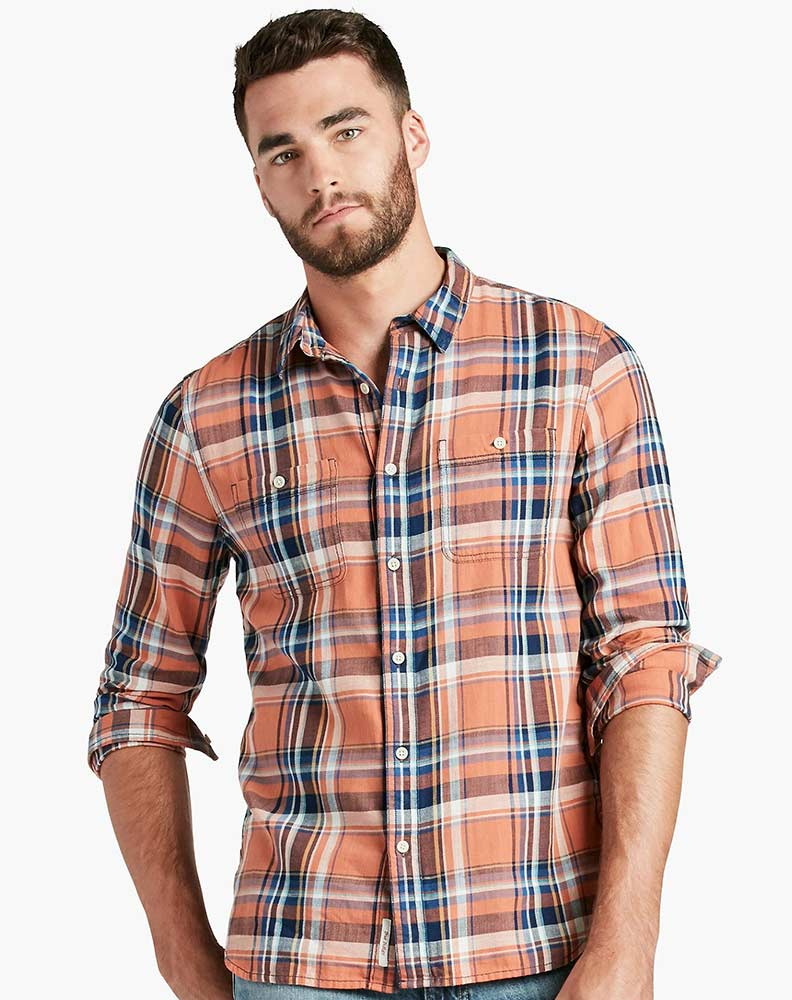 Orange and blue button down shirt south park t shirts for Mixed plaid shirt mens