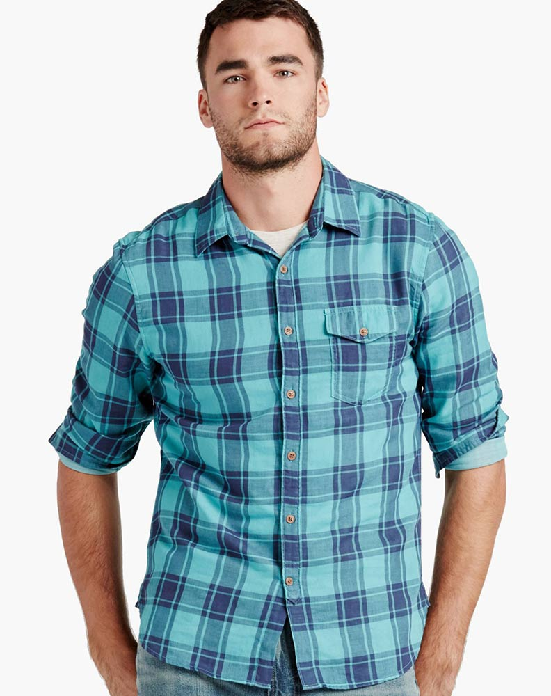 Lucky Brand Men's Long Sleeve Plaid Button Down Shirt-Teal