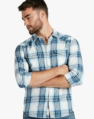 Lucky Brand Men's Long Sleeve Plaid Snap Western Shirt - Blue (Closeout)