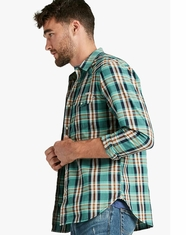Lucky Brand Men's Long Sleeve Plaid Snap Western Shirt - Green/Orange (Closeout)