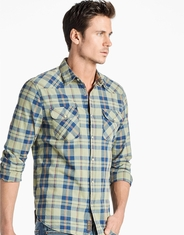 Lucky Brand Men's Long Sleeve Plaid Stretch Snap Shirt- Green (Closeout)
