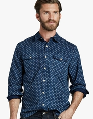 Lucky Brand Men's Long Sleeve Print Button Down Shirt - Blue (Closeout)
