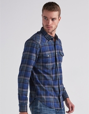Lucky Brand Men's Long Sleeve Stretch Flannel Plaid Snap Shirt - Blue