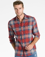 Lucky Brand Men's Long Sleeve Stretch Plaid Button Down Shirt-Red